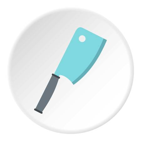 Steel meat knife icon in flat circle isolated on white background vector illustration for web