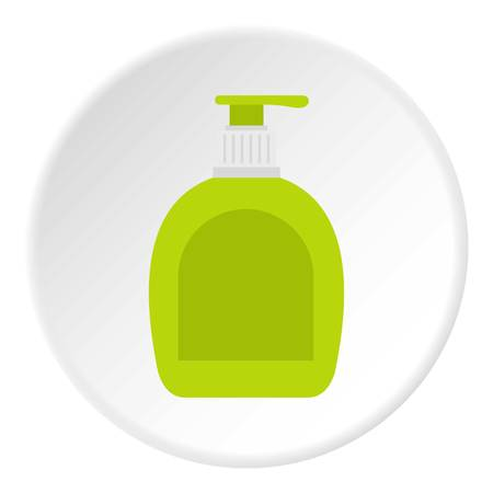 cleansing: Green bottle with liquid soap icon in flat circle isolated on white background vector illustration for web