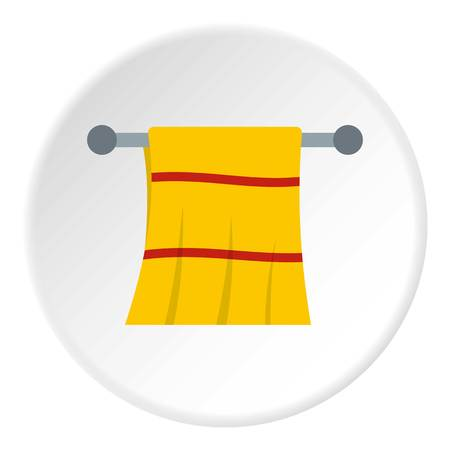 Yellow towel hanging on hanger icon in flat circle isolated on white background vector illustration for web