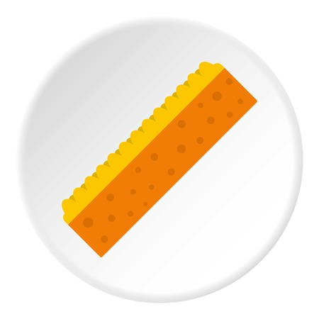 Orange sponge for cleaning icon in flat circle isolated on white background vector illustration for web