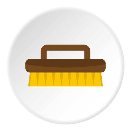 bristles: Wooden scrub brush icon in flat circle isolated on white background vector illustration for web