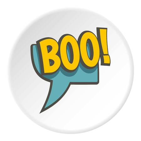 BOO, speech bubble icon in flat circle isolated on white background vector illustration for web