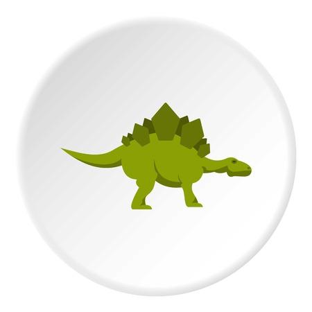 Green stegosaurus dinosaur icon in flat circle isolated on white background vector illustration for web