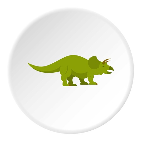 Green styracosaurus dinosaur icon in flat circle isolated on white background vector illustration for web