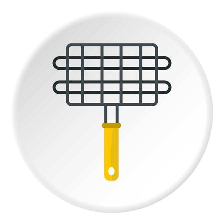 fillet steak: Steel grid for grill icon in flat circle isolated on white background vector illustration for web