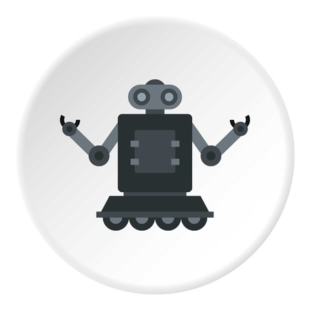 Robot on wheels icon in flat circle isolated on white background vector illustration for web