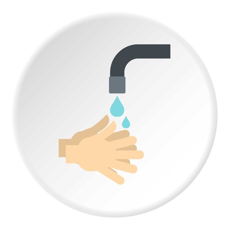 Washing hands under running water icon in flat circle isolated on white background vector illustration for web