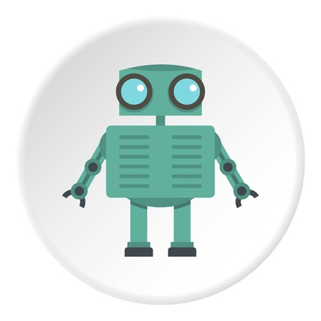 funny robot: Steel robot icon in flat circle isolated on white background vector illustration for web