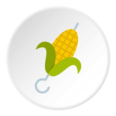 Delicious grilled corn in skewer icon in flat circle isolated on white background vector illustration for web