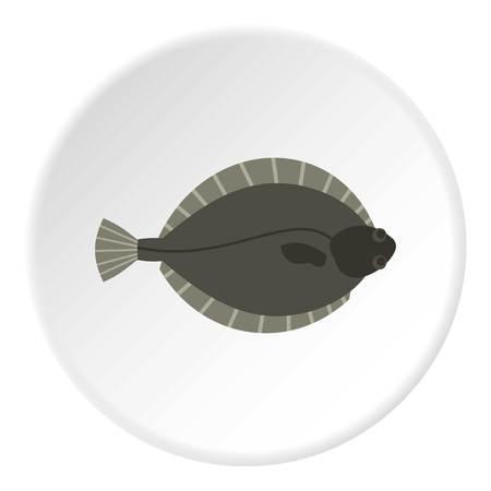 Flounder fish icon circle Illustration