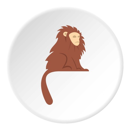 Monkey with long brown hair icon in flat circle isolated on white background vector illustration for web Çizim