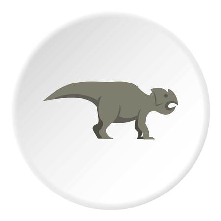 Grey ceratopsians dinosaur icon circle