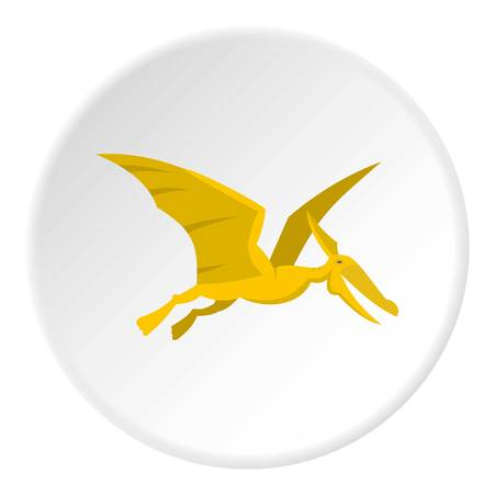 Yellow pterosaurs dinosaur icon circle