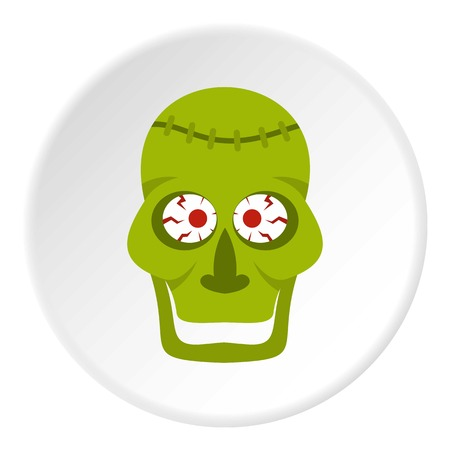 Green zombie skull icon circle