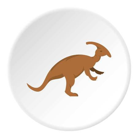 Brown parazavrolofus dinosaur icon in flat circle isolated on white background vector illustration for web
