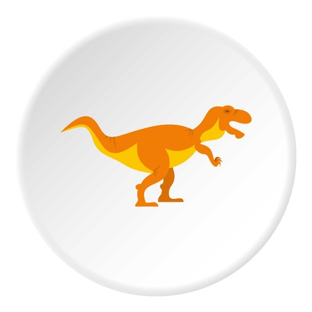 Orange tyrannosaur dinosaur icon in flat circle isolated on white background vector illustration for web
