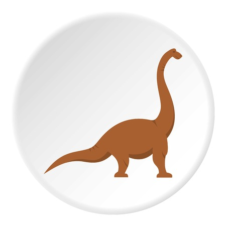 raptor: Brown brachiosaurus dinosaur icon in flat circle isolated on white background vector illustration for web