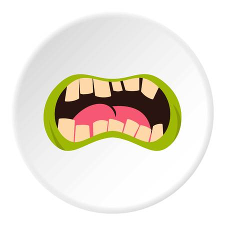 Open zombie mouth icon circle