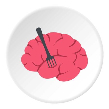 Pink brain with fork icon circle Illustration