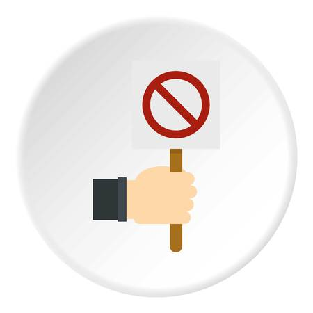 Hand holding stop sign icon circle Illustration