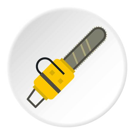 Yellow chainsaw icon circle Illustration