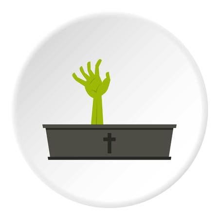 Green zombie hand coming out of his coffin icon Illustration