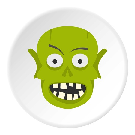 Green zombie head icon circle