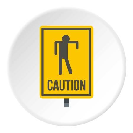beware: Yellow caution zombie sign icon circle