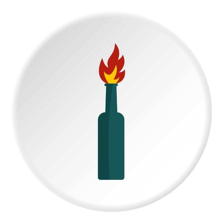 inflammable: Fire bottle icon in flat circle isolated on white background vector illustration for web