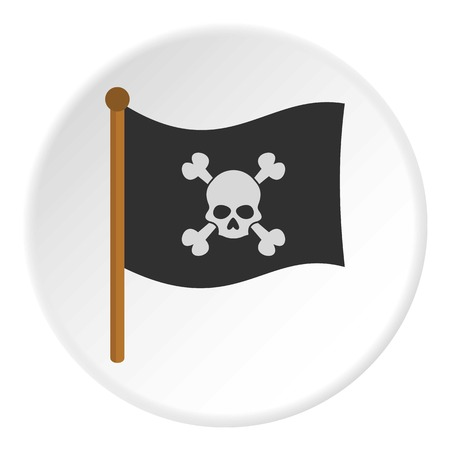 hazard sign: Pirate flag icon in flat circle isolated on white background vector illustration for web