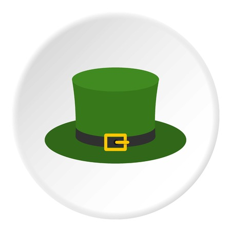 Leprechaun hat icon in flat circle isolated on white background vector illustration for web Illustration