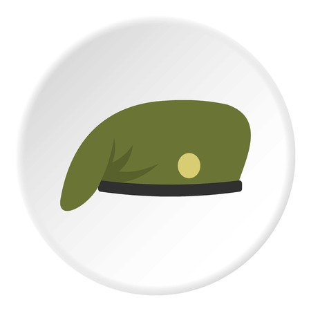 Military cap icon in flat circle isolated on white background vector illustration for web Illustration