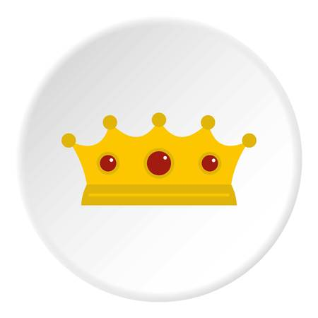 Jewelry crown icon in flat circle isolated on white background vector illustration for web