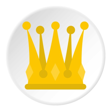 Kingly crown icon in flat circle isolated on white background vector illustration for web