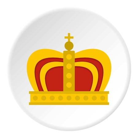authority: Monarchy crown icon in flat circle isolated on white background vector illustration for web