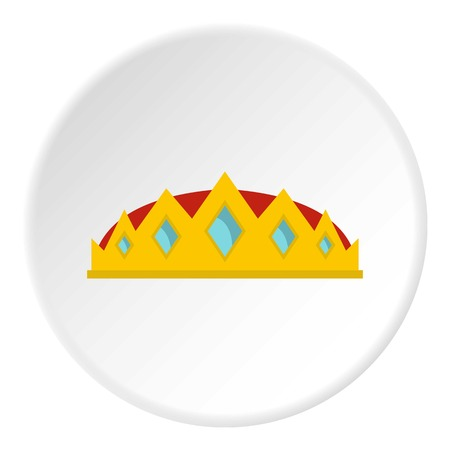 Small crown icon in flat circle isolated on white background vector illustration for web Illustration