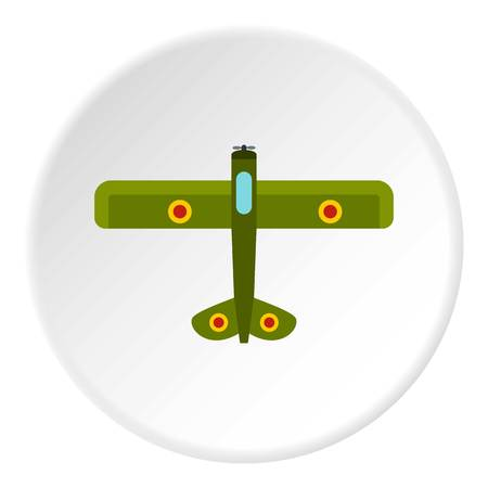 Army biplane icon in flat circle isolated on white background vector illustration for web Illustration