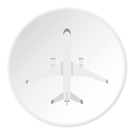 Big plane icon in flat circle isolated on white background vector illustration for web Illustration