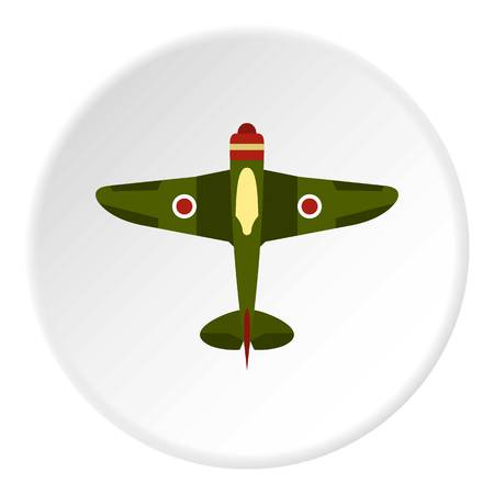 Army plane icon in flat circle isolated on white background vector illustration for web