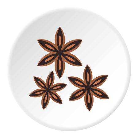 Star anise spice icon circle