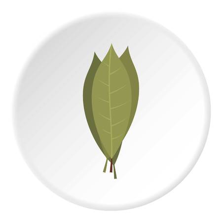 Bay laurel leaves icon in flat circle isolated on white background vector illustration for web Illustration