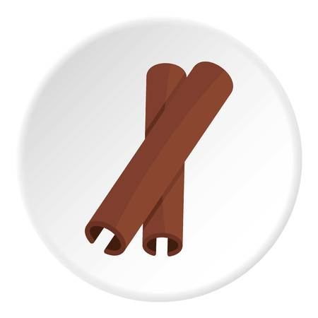 Two cinnamon stick spice icon in flat circle isolated on white background vector illustration for web