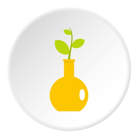Green plant in a yellow vase icon in flat circle isolated on white background vector illustration for web
