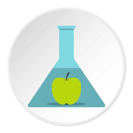Green apple in glass test flask icon circle
