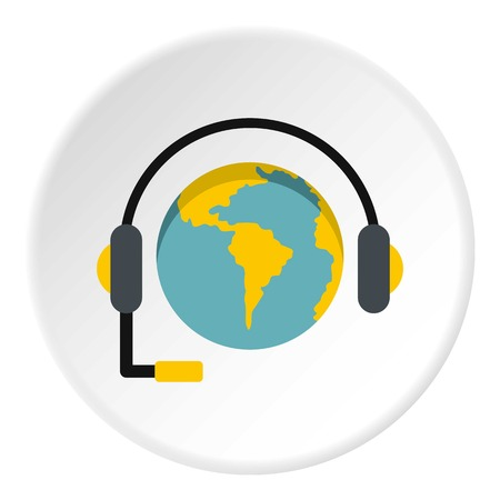 Globe with headset icon in flat circle isolated vector illustration for web Illustration