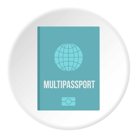 Passport icon in flat circle isolated vector illustration for web Illustration