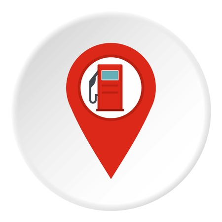 road position: Red map pin with gas station sign icon in flat circle isolated vector illustration for web Illustration