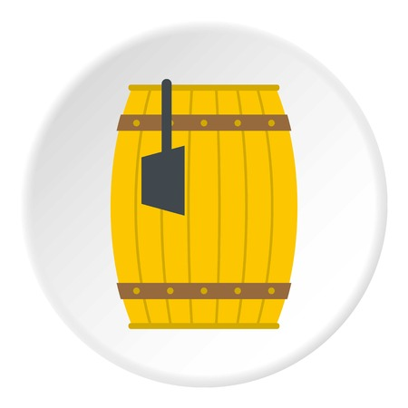 Wooden barrel with ladle icon in flat circle isolated vector illustration for web