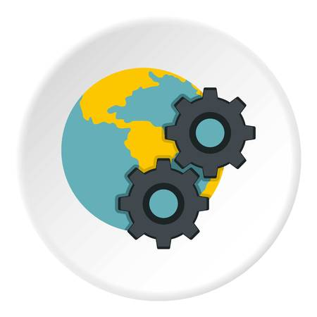 Earth and gears icon in flat circle isolated vector illustration for web