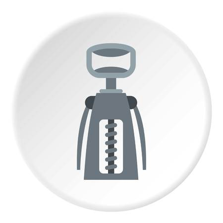 uncork: Metal corkscrew icon in flat circle isolated vector illustration for web